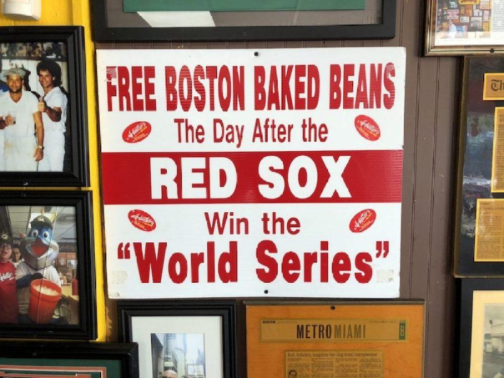 Arbetter Hot Dogs Free Boston Baked Beans Sign