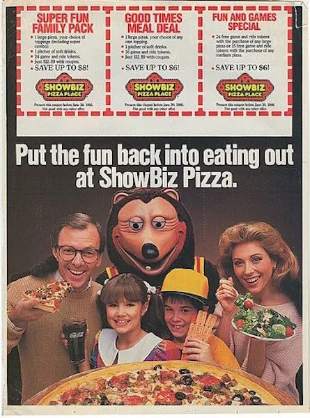 ShowBiz Pizza Ad