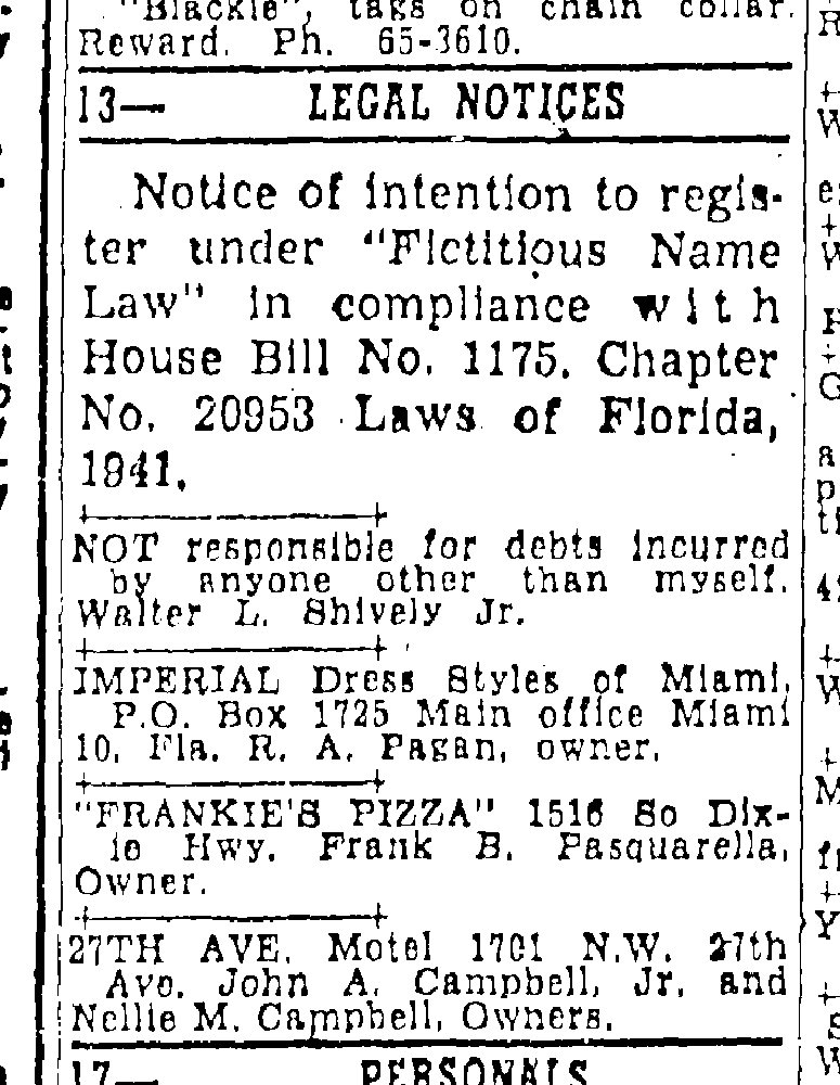 Frankie's Pizza in the Miami Herald April 6, 1955