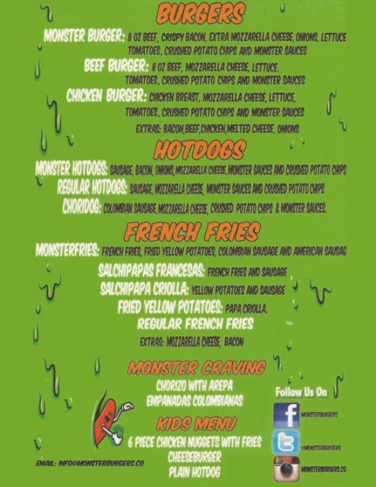 Monster Burgers Menu
