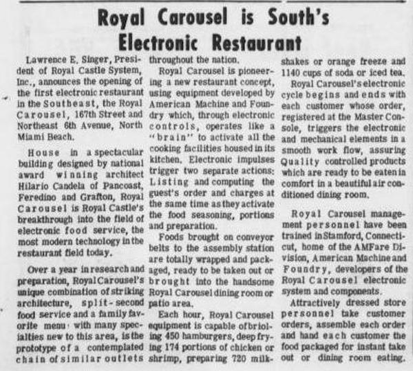 Royal Carousel - Miami Times August 18th, 1967
