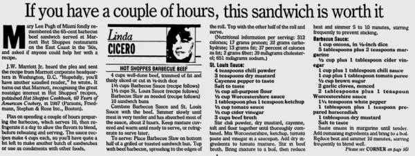 Hot Shoppes Sandwich Recipe (click to enlarge)