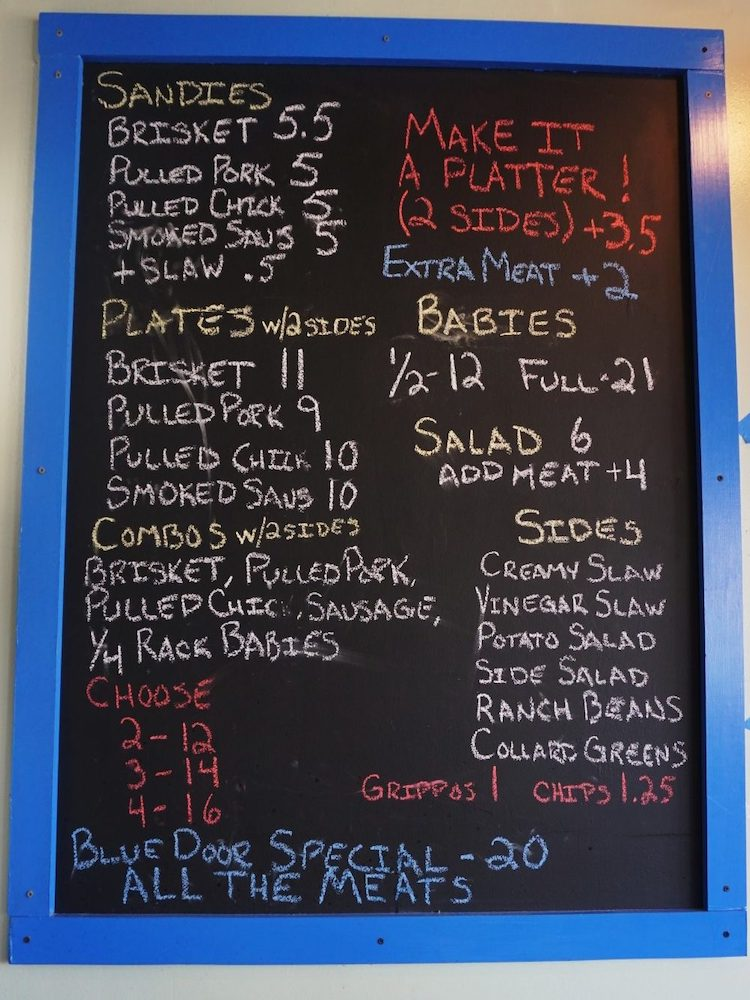 Blue Door Smokehouse Menu