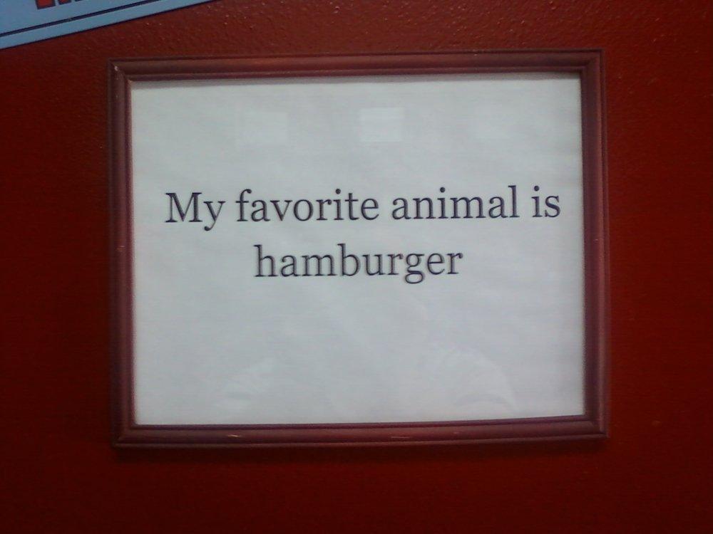 """My favorite animal is hamburger"""