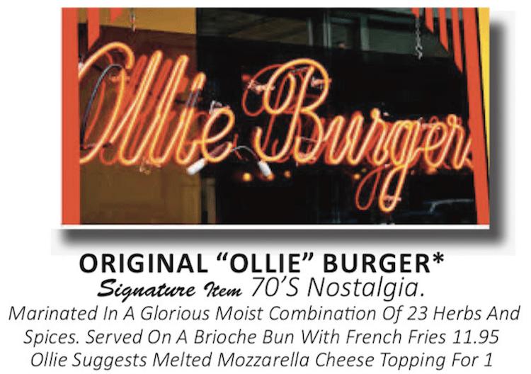 Ollie Burger description on Flashback Diner Menu