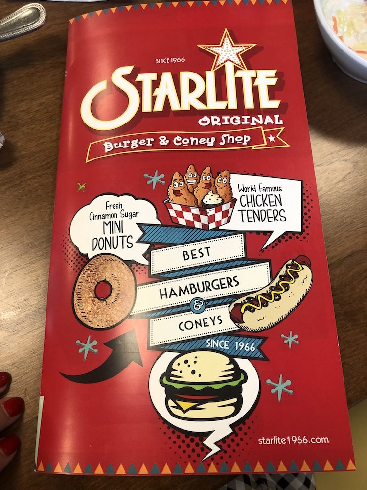 Starlite Diner in Burton, Michigan Menu Front