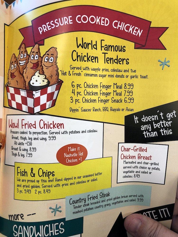 Starlite Diner in Burton, Michigan Chicken Tenders Menu Description