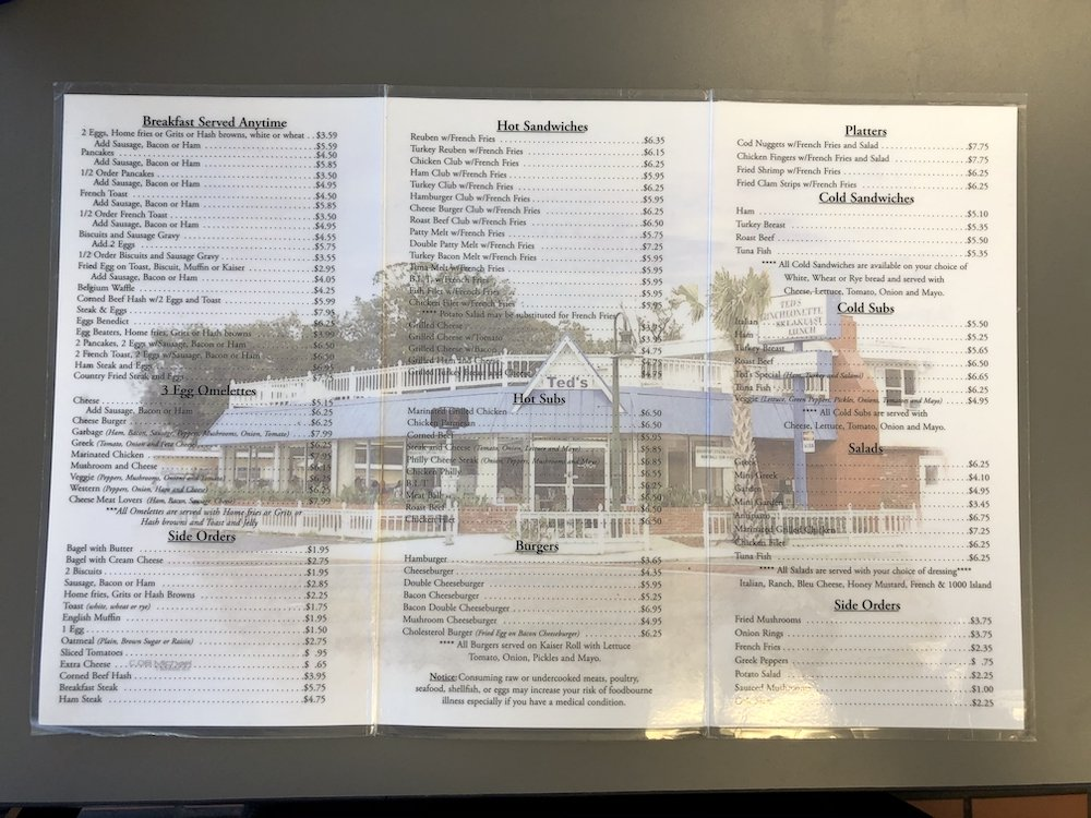 Ted's Luncheonette Menu