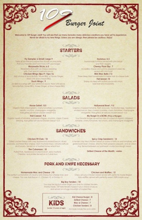 109 Burger Joint Menu Page 1