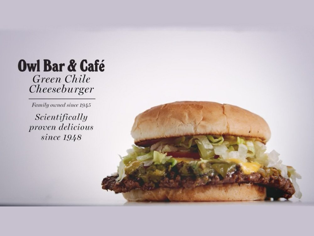Owl Bar Cafe Green Chile Cheeseburger