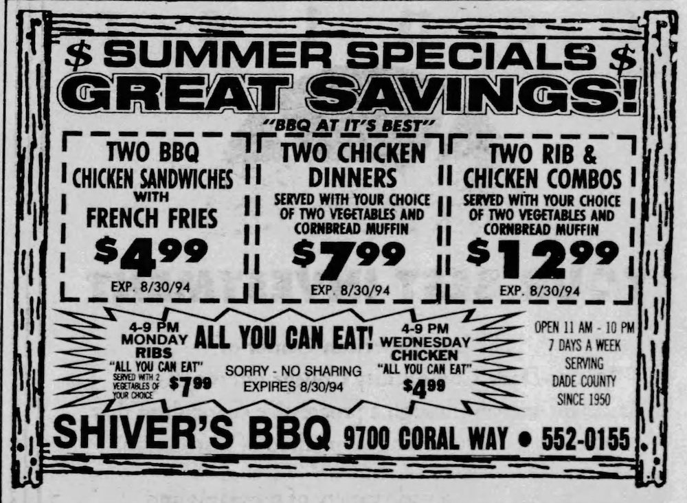Shiver's BBQ in the Miami Herald 7-31-94