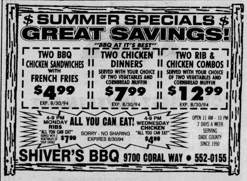 Shiver's BBQ in the Miami Herald 7-31-94