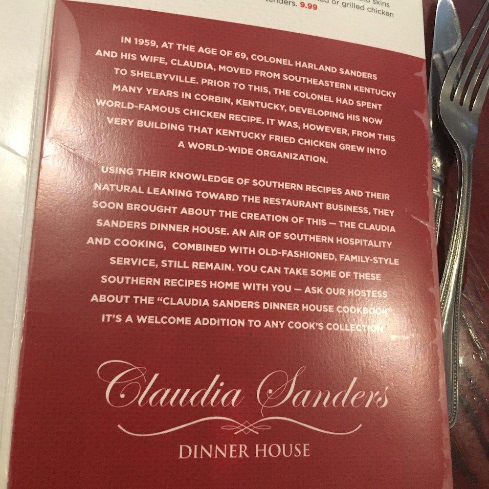 Claudia Sanders Dinner House Story on Menu Back