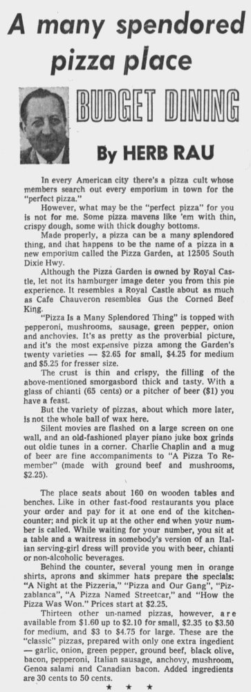 Pizza Garden in The Miami News May 11th, 1974
