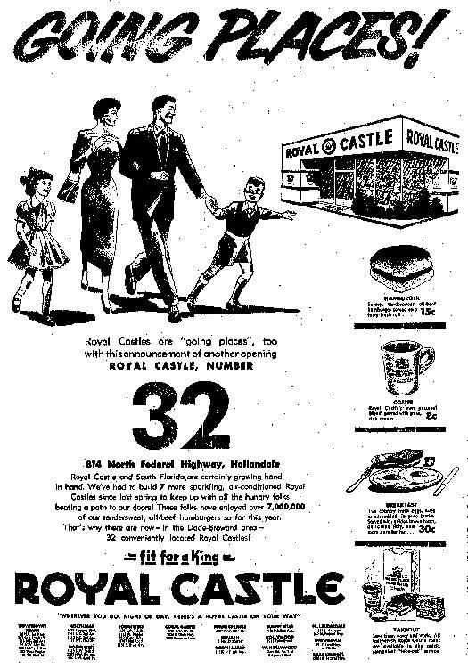 Royal Castle ad in the Miami Herald 11-28-55