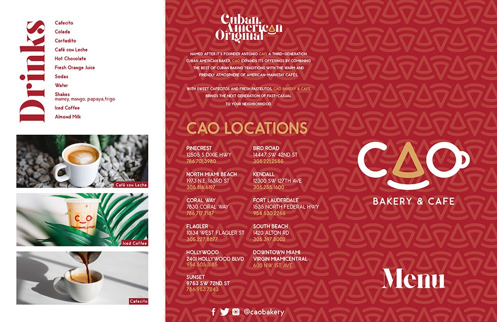 CAO Bakery Drinks & Locations Menu