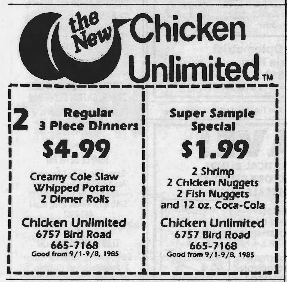 Chicken Unlimited ad in the Miami Herald 9-1-85