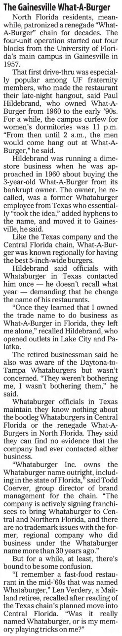 Gainesville What-A-Burger in The Orlando Sentinel June 28th, 2003