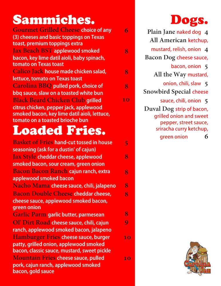 Carolina Jax Menu Page 2