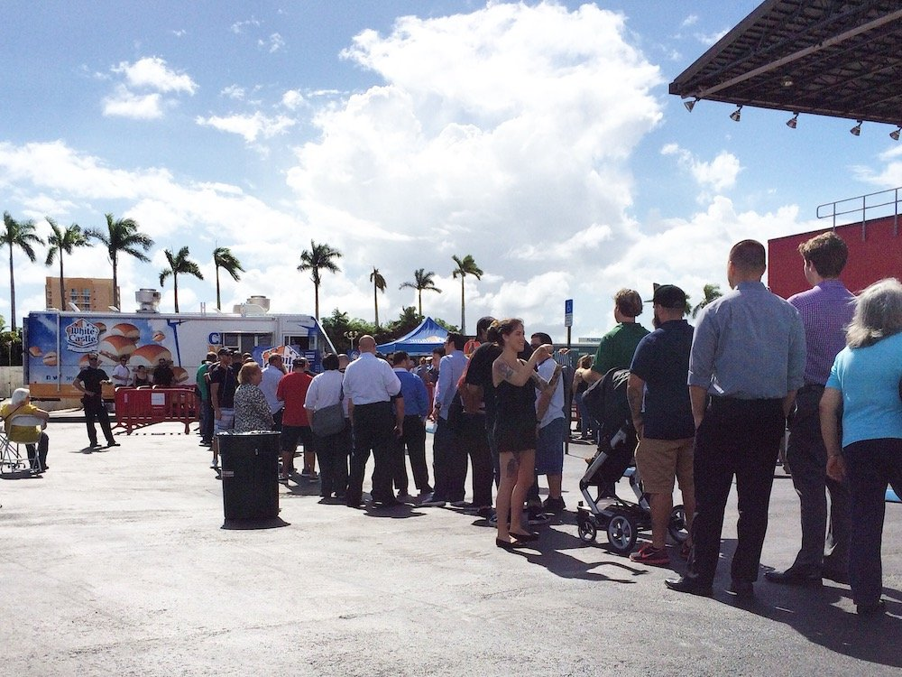 Part of the line for the White Castle Cravemobile in Miami