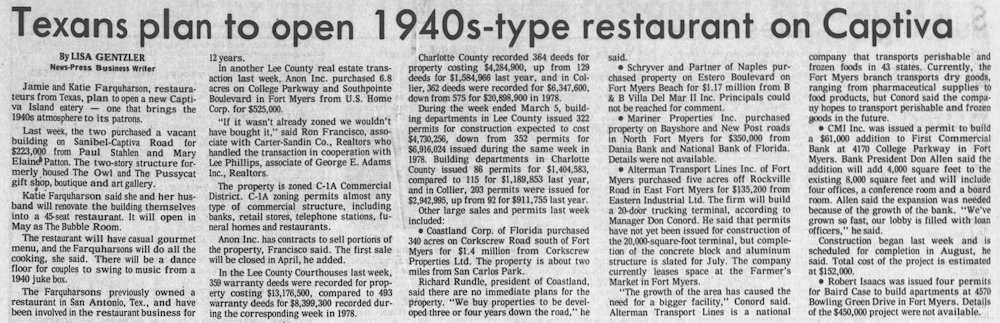 Bubble Room in Fort Myers News-Press March 11th, 1979