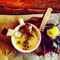 Egg en Cocotte with Fermented Beet Greens, Tomato Jam