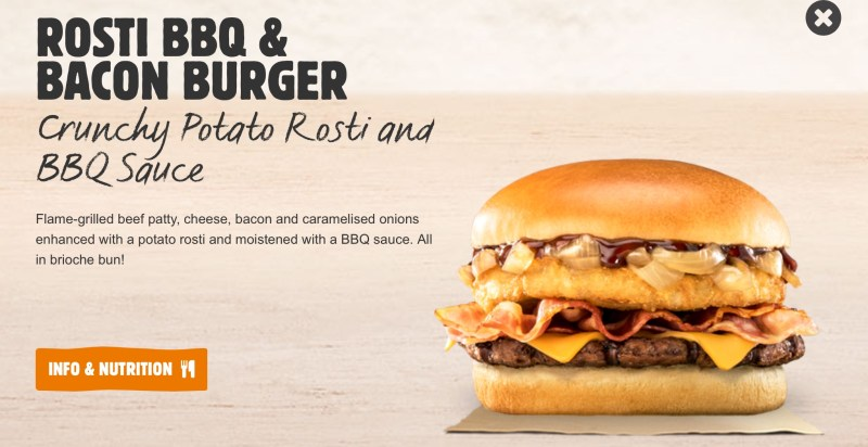 Burger King Rosti BBQ & Bacon Burger