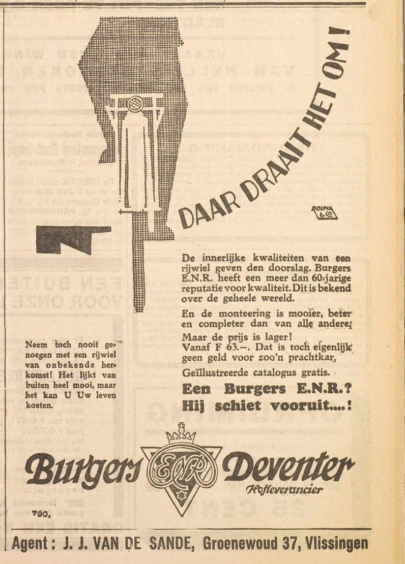 Advertentie Burgers. Vliss. courant 1931-06-29