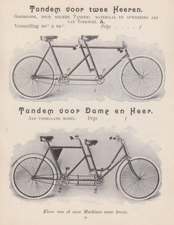 Burgers Tandems uit de catalogus van 1900.
