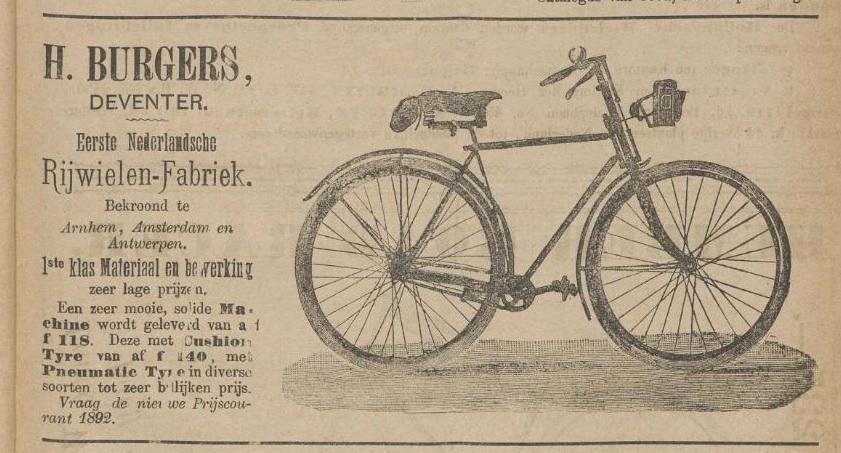 Advertentie Burgers. Kampioen 1 april 1892