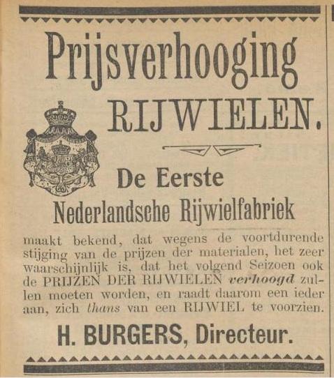 Advertentie Burgers. Kampioen 1 dec 1899