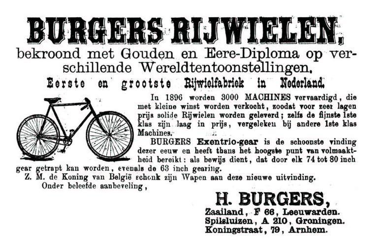 Advertentie Burgers. Leeuwarder Courant 04-03-1896