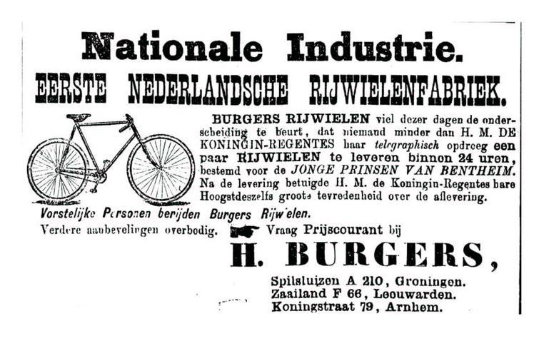 Advertentie Burgers. Leeuwarder Courant 18-09-1896
