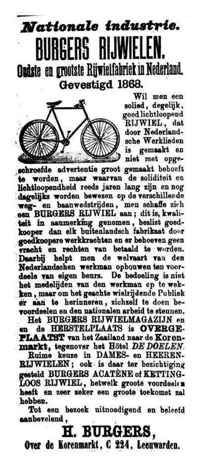 Advertentie Burgers. Leeuwarder Courant 21-05-1897