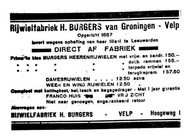 Advertentie Burgers. leeuw cour. 22-02-1930