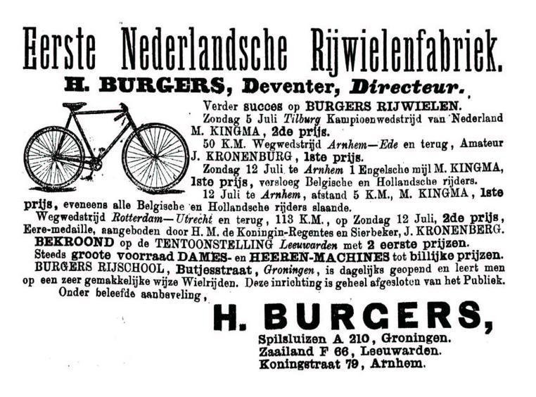 Advertentie Burgers. Leeuwarder Courant 27-07-1896