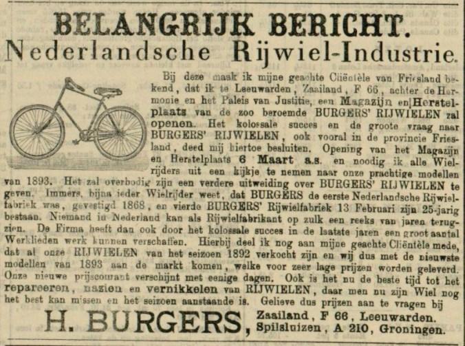 Advertentie Leeuwarder courant 1 maart 1893.