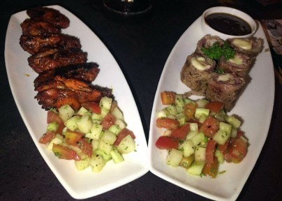 Chicken Wings (left) and Beef on Wheels (right)