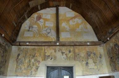 Le Dict des trois morts et des trois vifs, peinture murale, XVIè siècle, chapelle Sainte Anne, Saint-Fargeau. ©www.petit-patrimoine.com