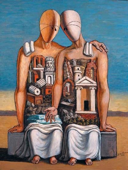 """Giorgio de Chirico, """"Arqueólogos"""" (1968)."""
