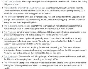 Professors around America have been caught selling secret research to the Chinese Communist Regime. The national media won't cover it, so here's a list of who have been caught so far.