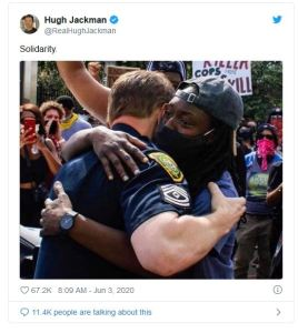 'This Is Shallow Propaganda': Actor Hugh Jackman Triggers Liberals By Sharing Photo Of A Police Officer and Protester Hugging