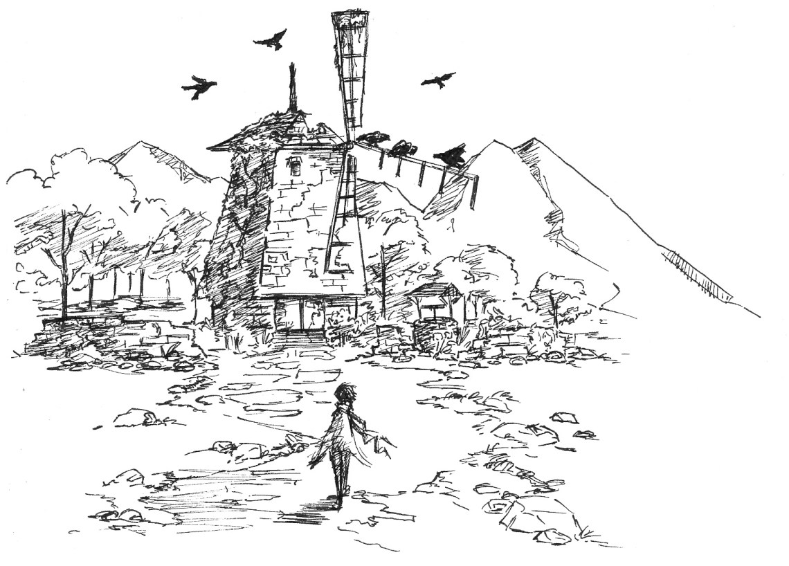 A lone figure approaches an abandoned windmill