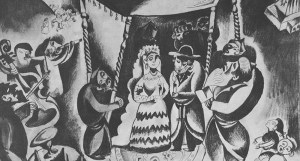 A charcoal drawing by Issachar Ber Ryback depicting a Jewish wedding ceremony in a shtetl.