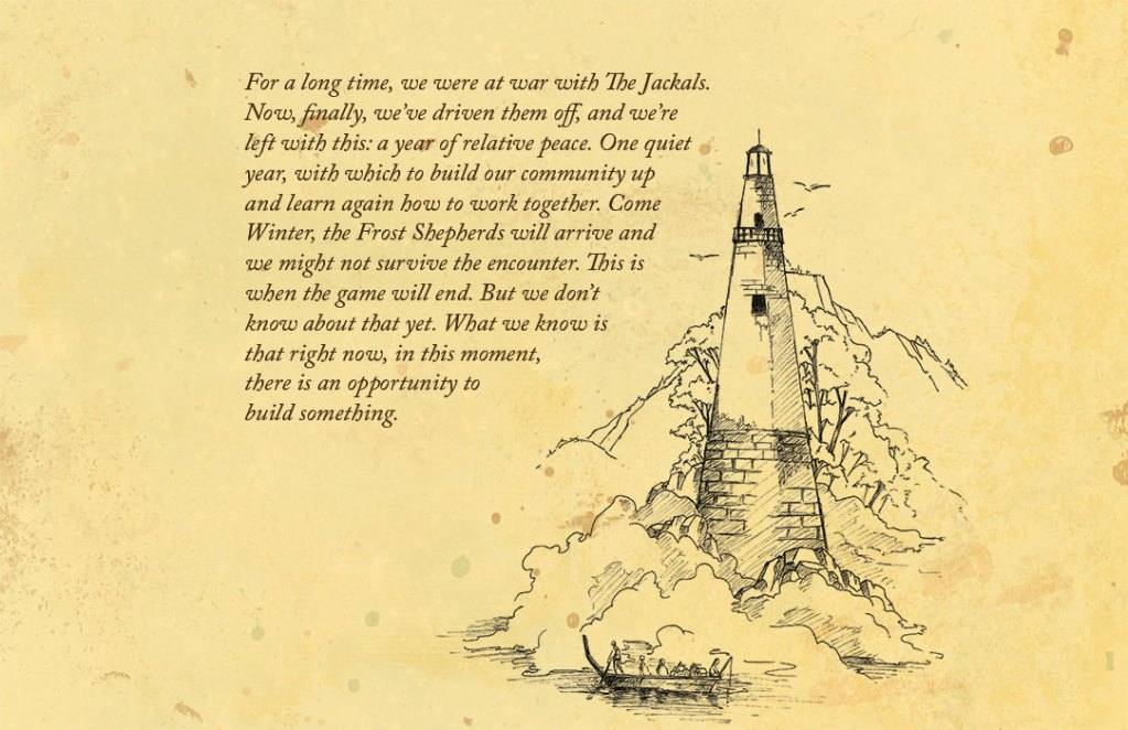 An image of a lighthouse over a weathered background, with text describing the story of The Quiet Year..