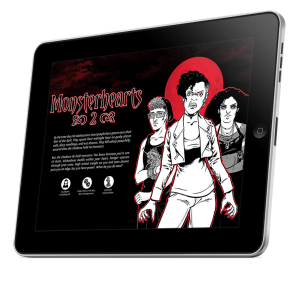 A mockup of a tablet displaying a PDF image of Monsterhearts 2.