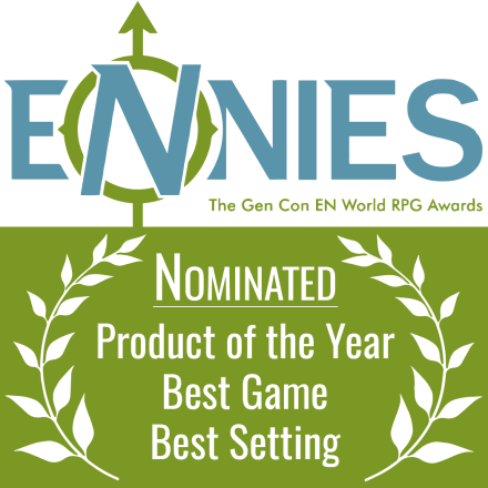 Dream Askew was nominated for three Ennie awards: Product of the Year, Best Game, and Best Setting.