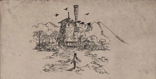 A figure walks toward an abandoned windmill in a post-civilization sketch.