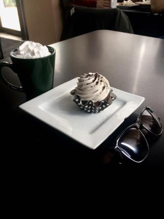 Vanilla Latte and an Oreo Muffin