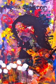 "Regina: 26'' x 42'', acrylic on canvas, based off Regina Spektor CD cover for ""Begin to Hope"" http://en.wikipedia.org/wiki/Begin_to_Hope"